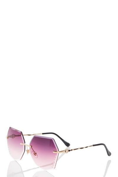 Brown Hexagon Diamante Sunglasses