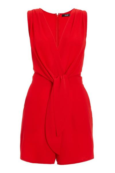 Red V Neck Tie Front Playsuit