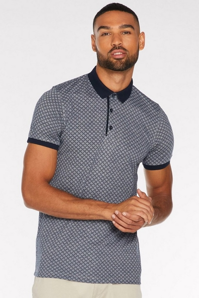 Printed Polo with Contrast Collar and Piping in Navy