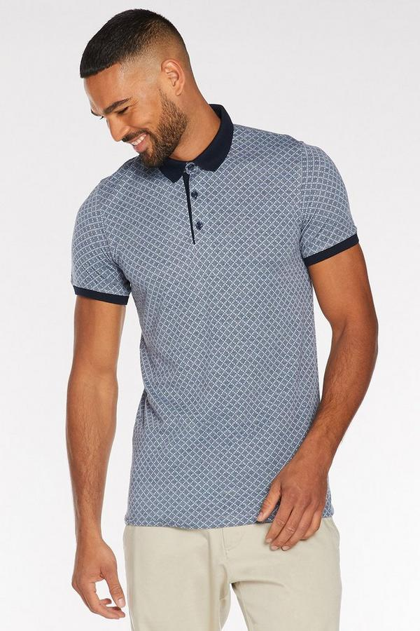 Printed Polo with Contrast Collar and Piping in Light Blue