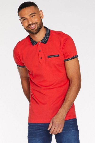 Contrast Collar and Sleeve Polo in Red
