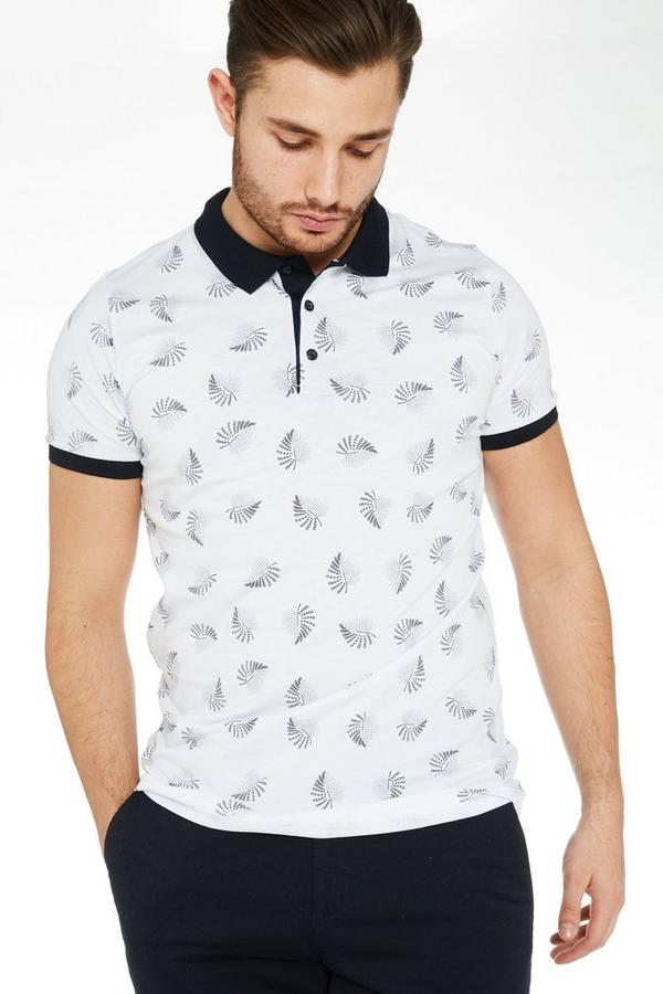 Leaf Print Polo Shirt with Contrast Collar & Sleeves in White