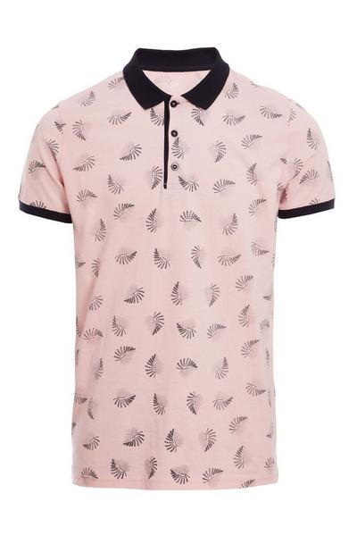 Leaf Print Polo Shirt with Contrast Collar & Sleeves in Pink