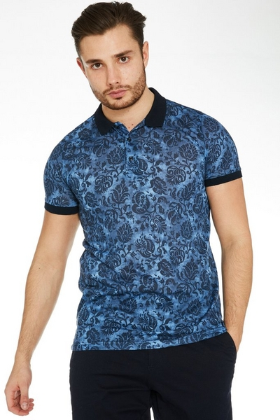 Floral Polo Shirt with Contrast Collar & Sleeves in Blue