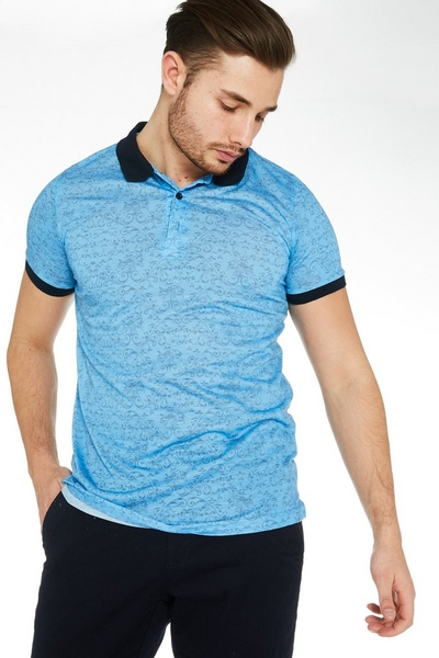 Spiral Print Polo Shirt with Contrast Collar and Sleeves in Blue