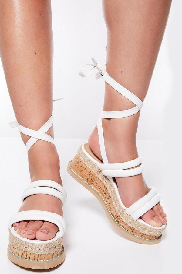 White Tie Up Flatforms