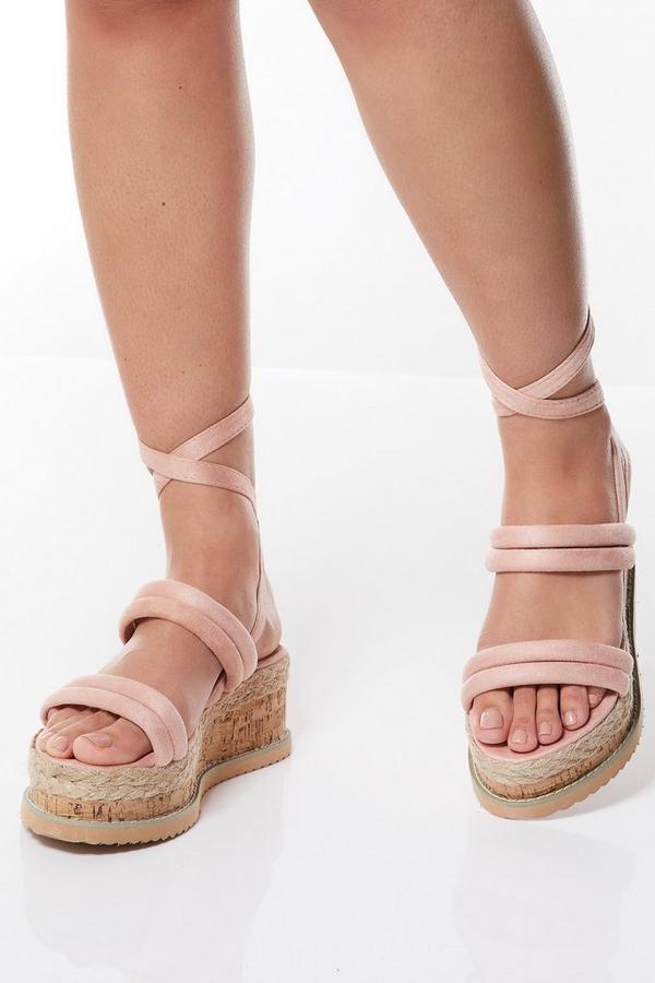 Pink Tie Up Flatforms