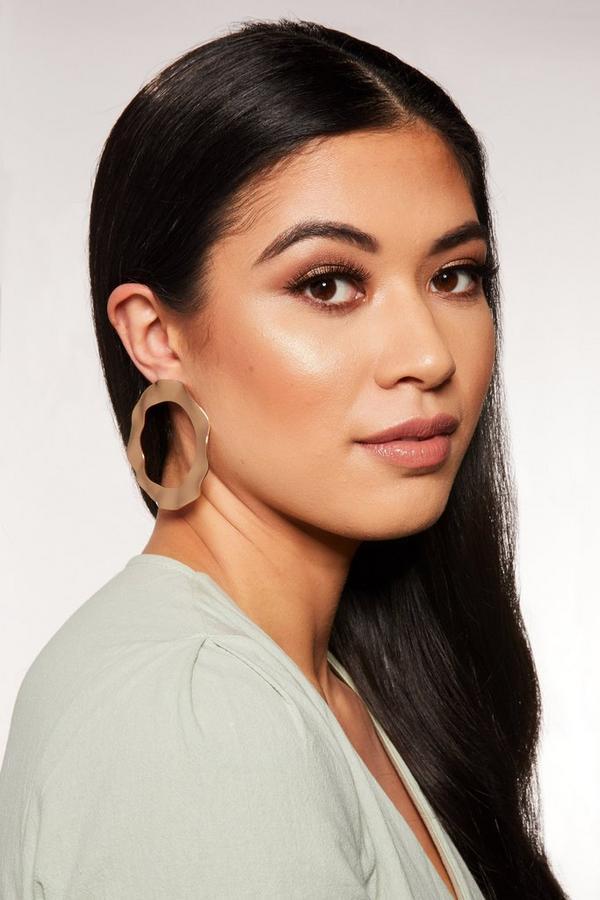 Gold Crushed Circle Earrings