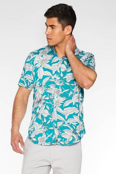 Turquoise Leaf Print Revere Collar Shirt