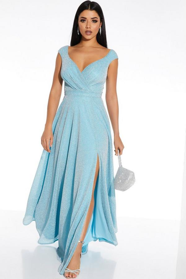 Sky Blue Glitter Wrap Sleeveless Maxi Dress