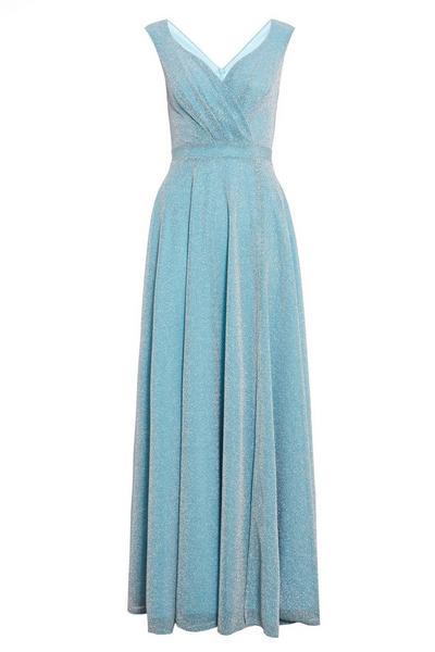 Sky Blue Glitter Wrap Sleeveless Maxi Dress