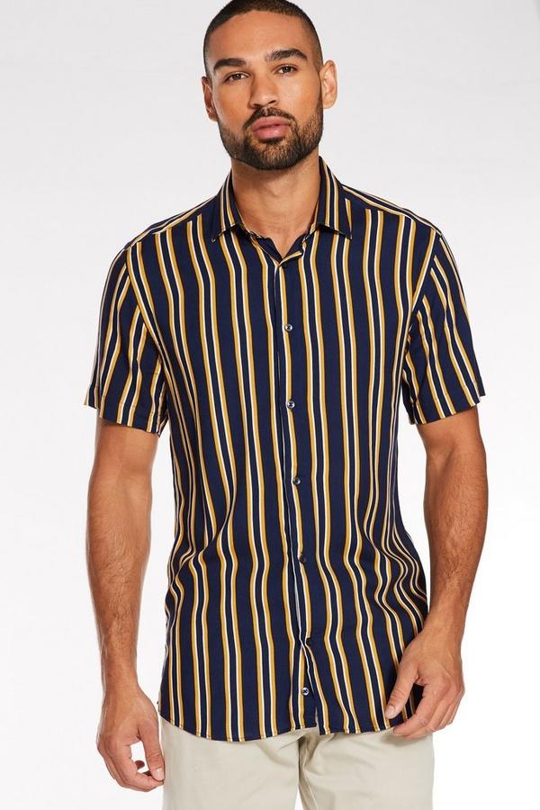 Short Sleeve Pinstripe Shirt in Navy & Mustard