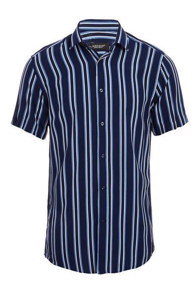 Short Sleeve Pinstripe Shirt in Navy