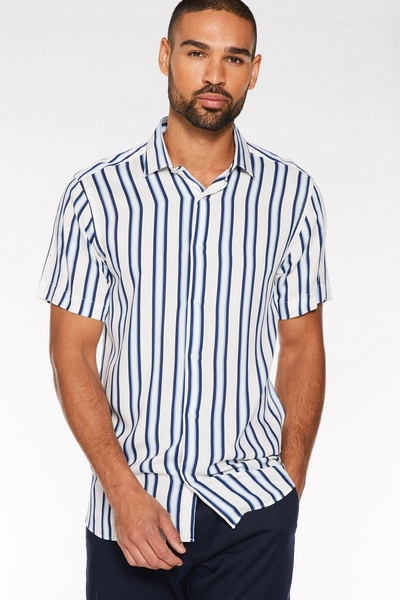Short Sleeve Pinstripe Shirt in White