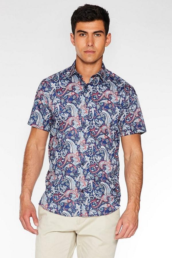 Multicoloured Short Sleeve Paisley Print Shirt