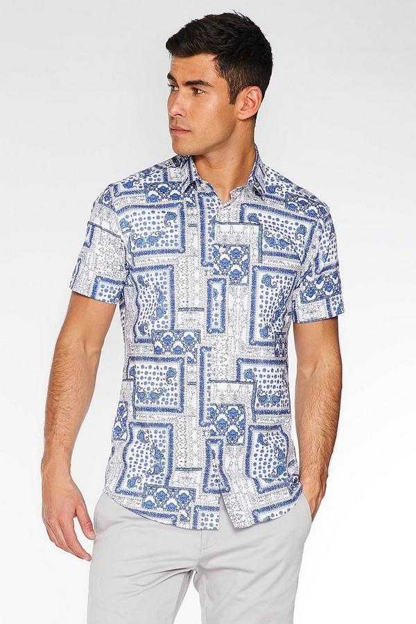 White & Blue Short Sleeve Paisley Print Shirt
