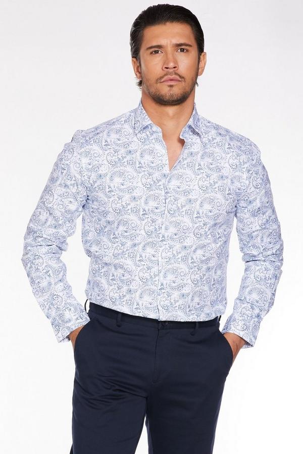Long Sleeve Paisley Print Shirt
