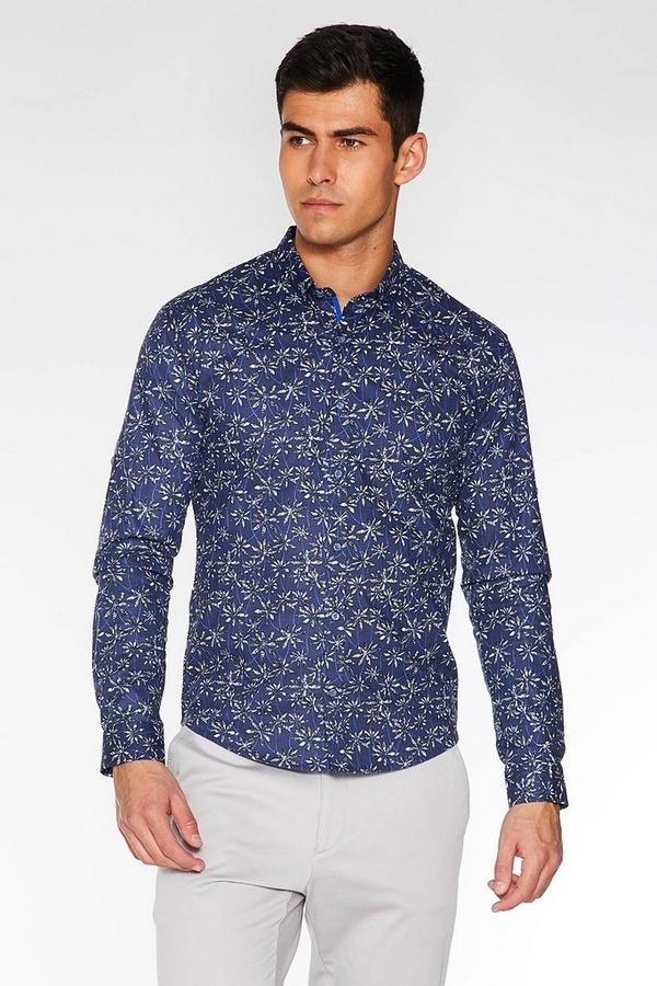 Navy Long Sleeve Floral Print Shirt