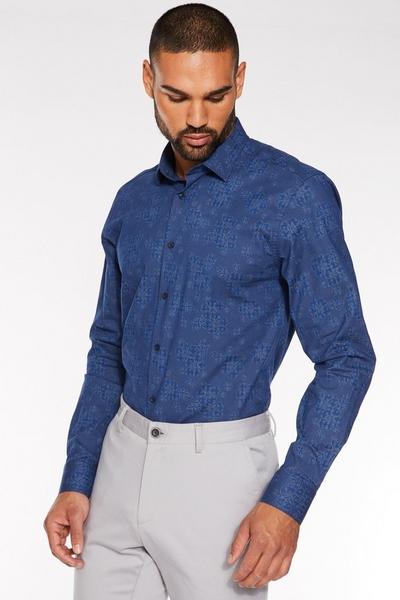 Long Sleeve Geometric Floral Print Shirt