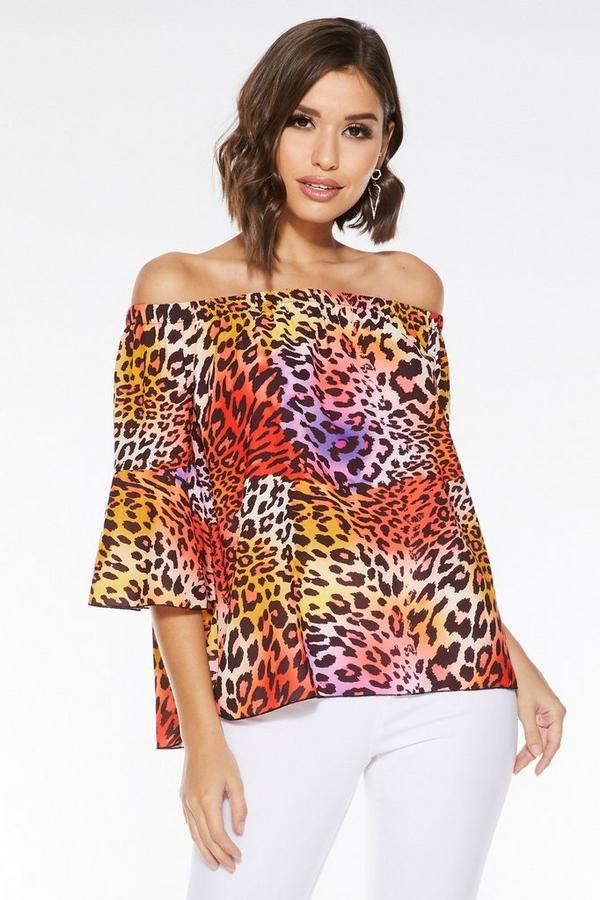Multicoloured Leopard Print Bardot Top