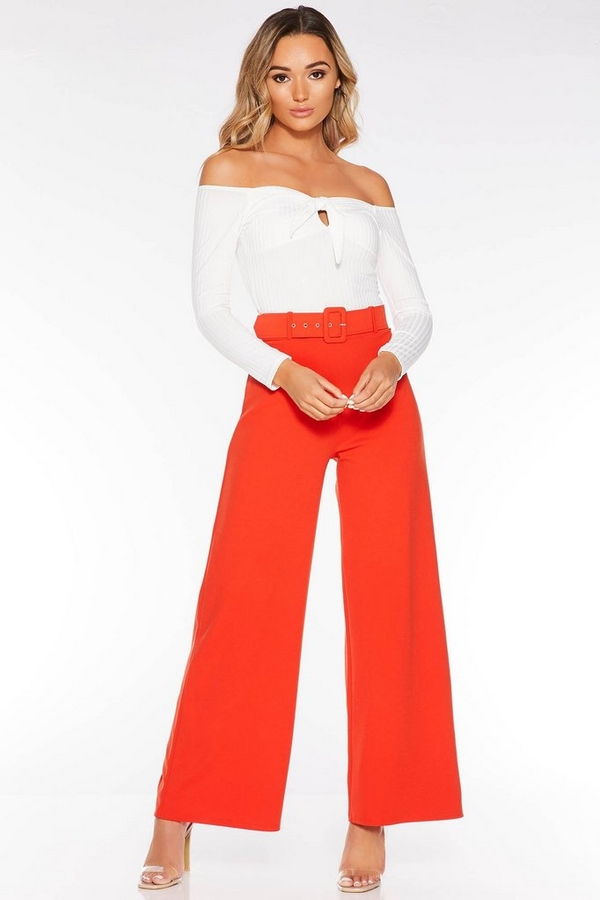 Orange Belted Palazzo Trousers