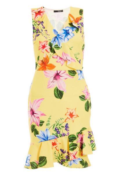 Yellow Floral Print Frill Hem Dress