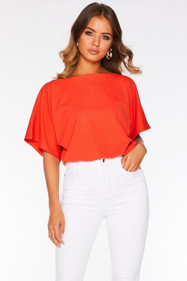 Orange Batwing Bodysuit
