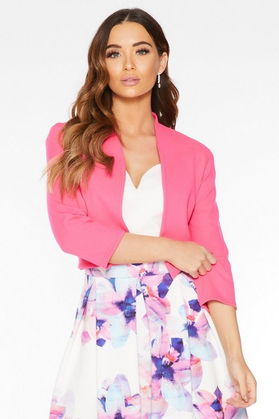 Hot Pink Curved Front Cropped Jacket