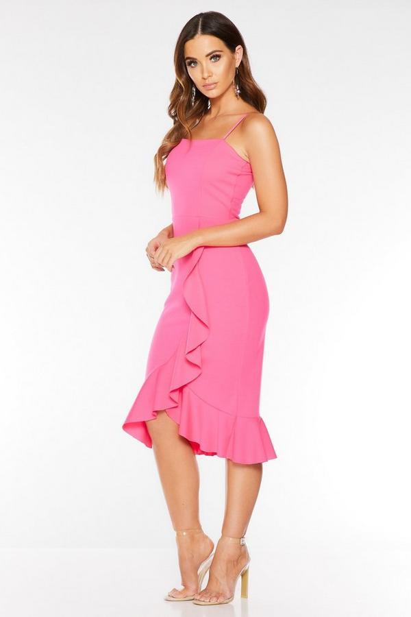 Hot Pink Square Neck Frill Midi Dress