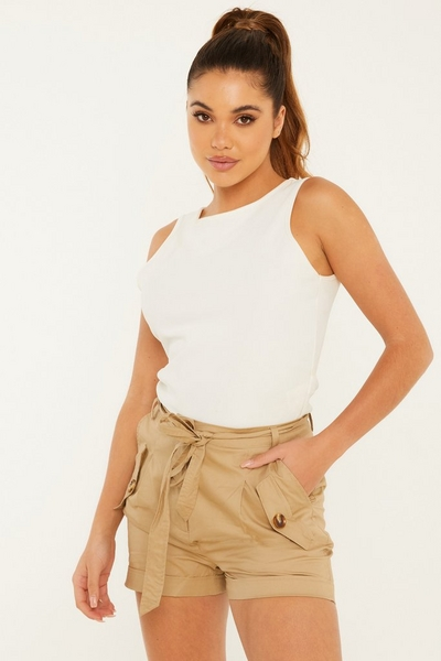 Stone Woven Belted Shorts