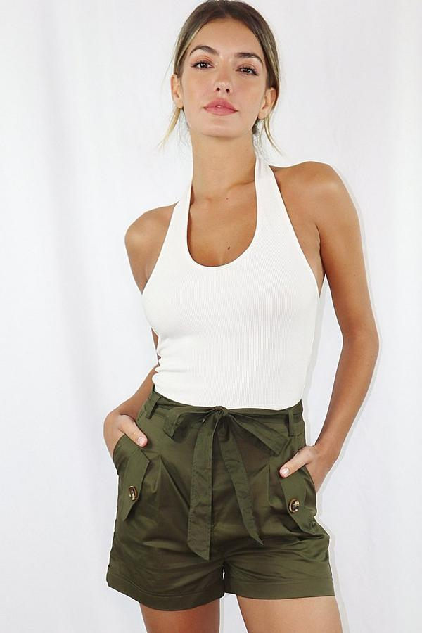 Khaki Woven Belted Shorts