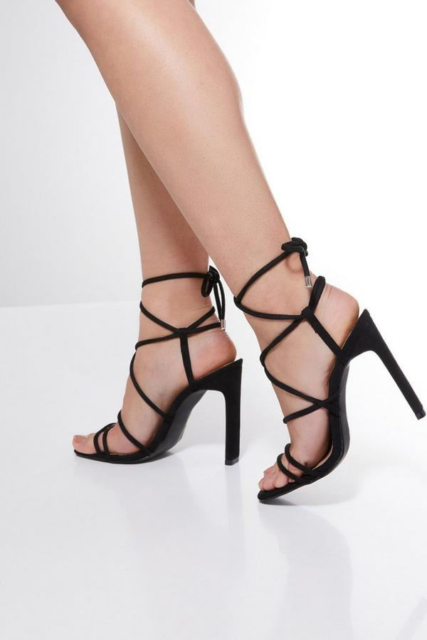 Black Faux Suede Strappy Heel Sandals