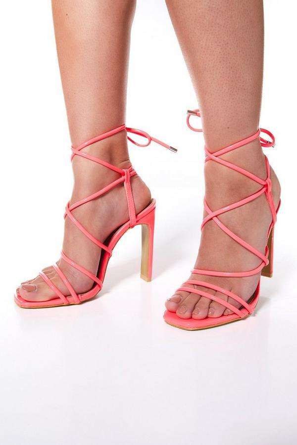Neon Pink Patent Strappy Heel Sandals