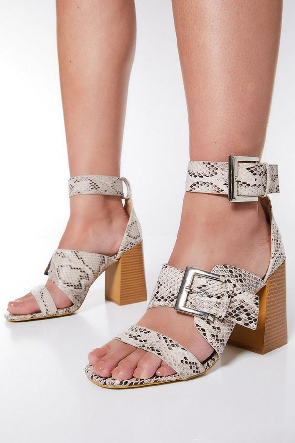 Snake Print Heel Sandals