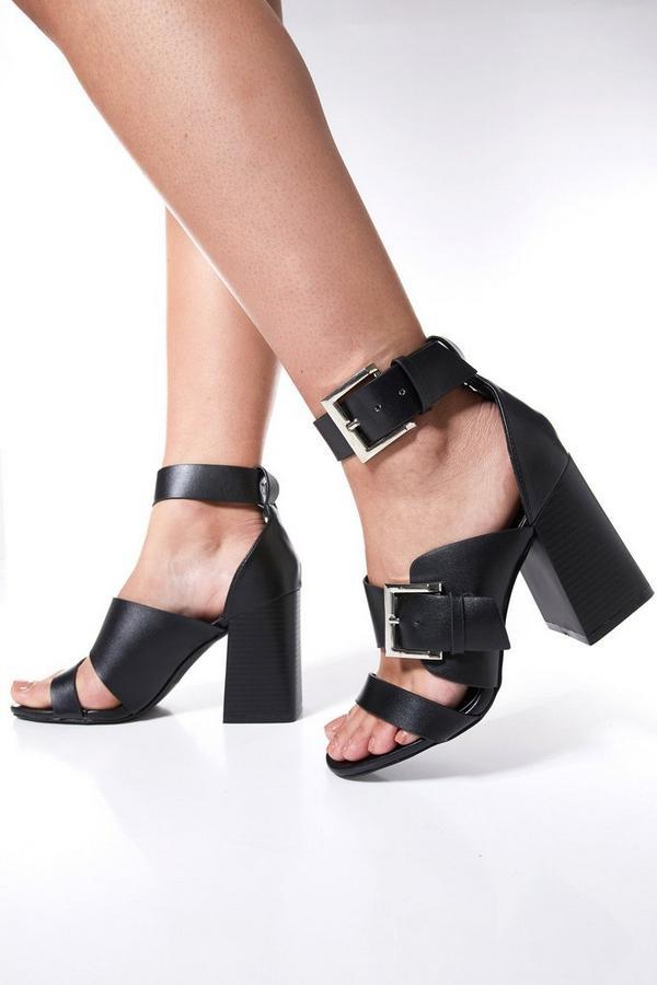 Black Strap Buckle Heel Sandals