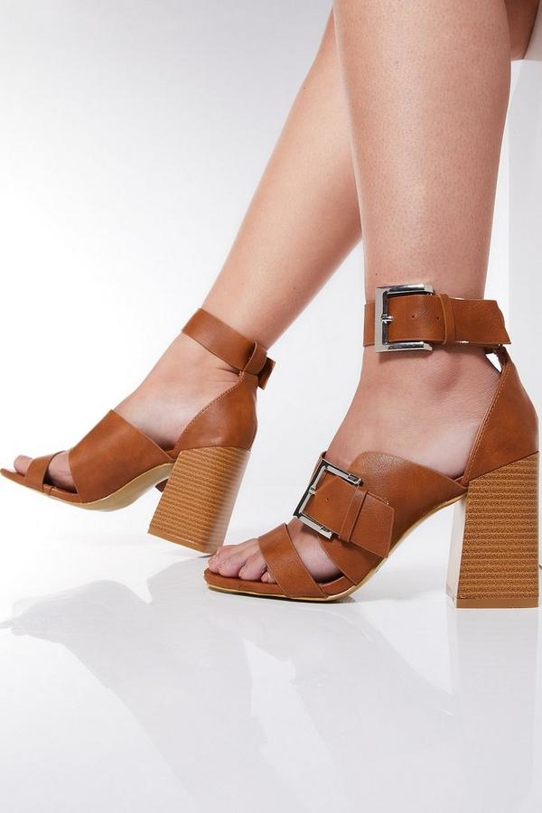 Tan Strap Buckle Heel Sandals