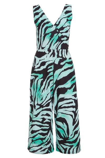 Green And Black Zebra V Neck Jumpsuit