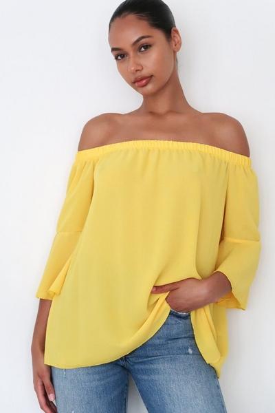 Yellow Bardot Flute Sleeve Top