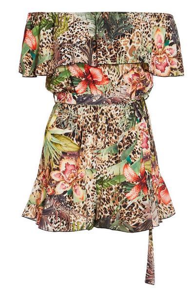 Brown Leopard Print Floral Playsuit