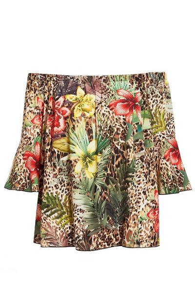 Brown Leopard Print Floral Top