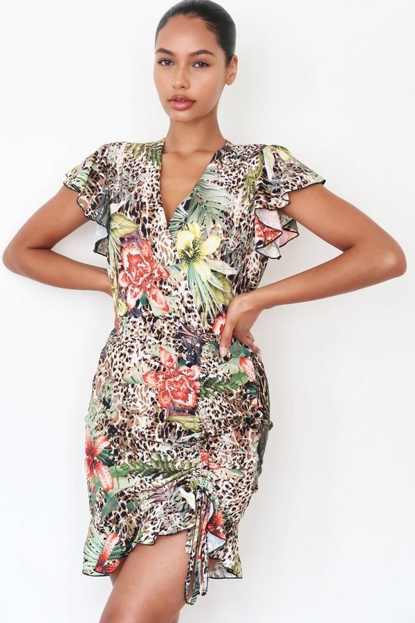 Brown Leopard Print Floral Frill Wrap Dress
