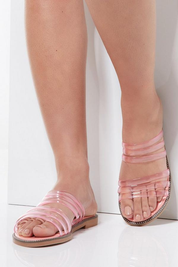 Pink Clear Strap Flat Sandals