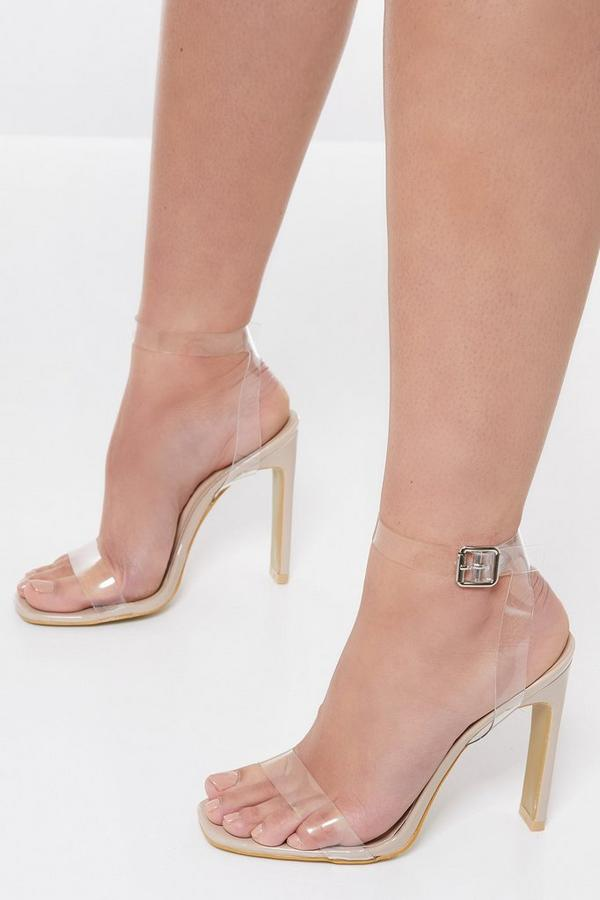 Nude Clear Strap Square Toe Heels