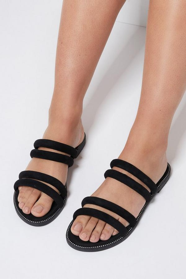 Black Strappy Flat Sandals