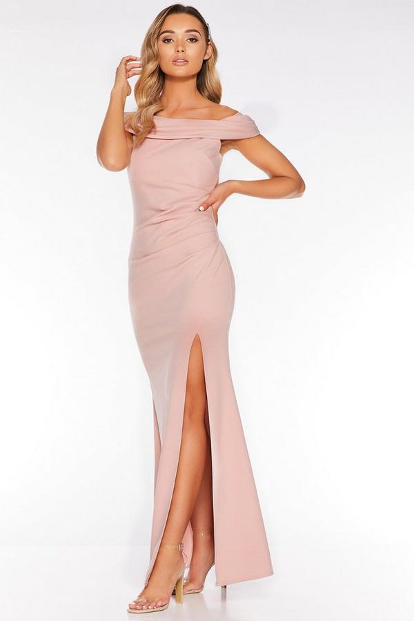 Nude Off The Shoulder Ruched Split Maxi Dress