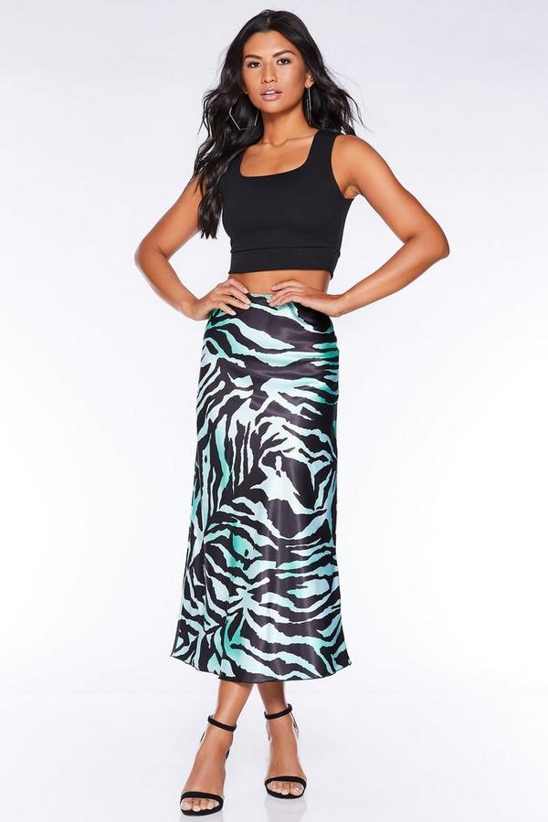 Green And Black Zebra Bias Cut Satin Midi Skirt