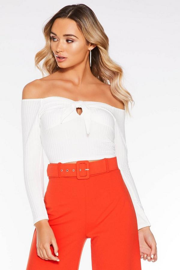 White Ribbed Tie Front Crop Top