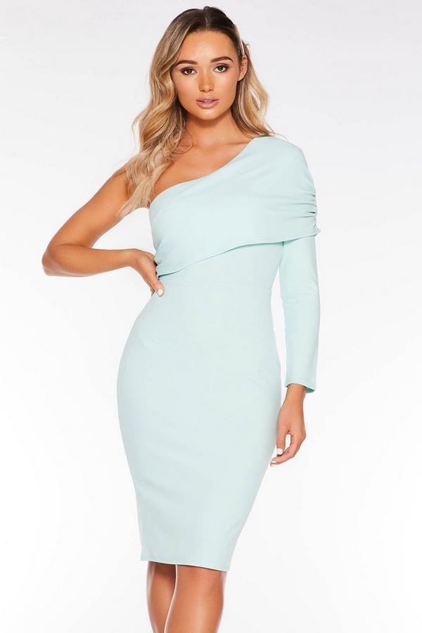 Mint Ruched One Shoulder Midi Dress