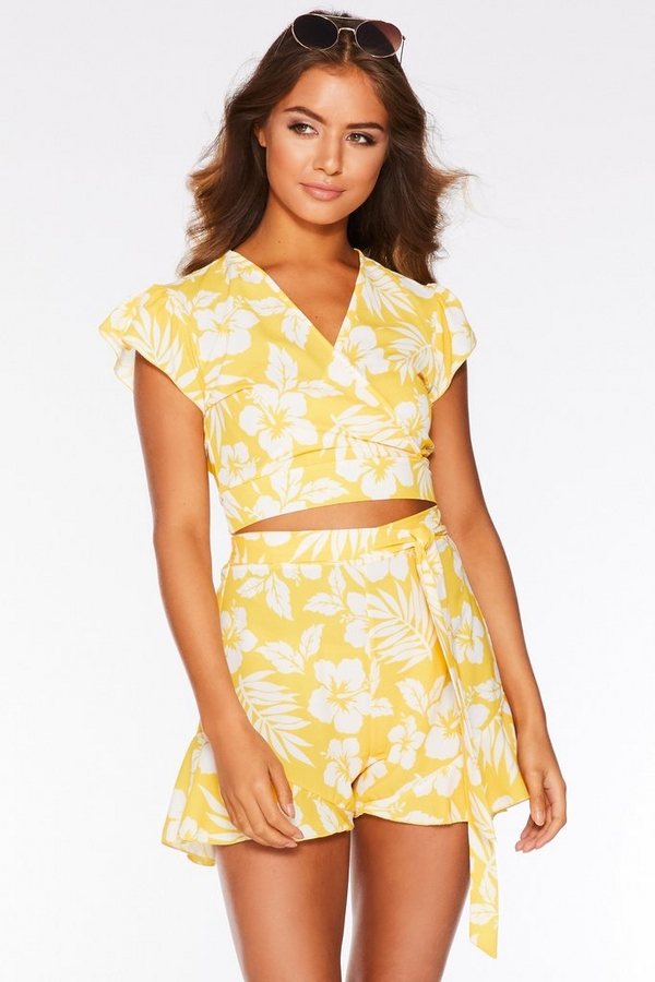 Yellow and White Tropical Print Crop Top