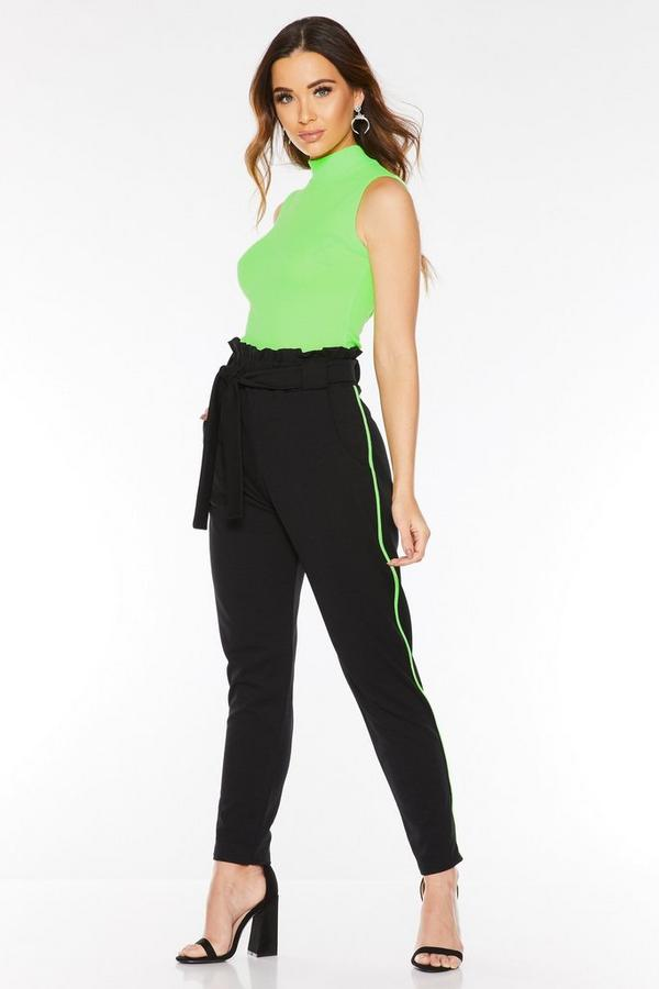 Black and Neon Green Stripe Paper Bag Trousers